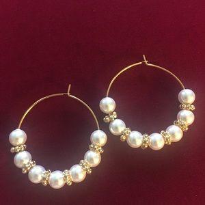 Swarovski Pearl Hoop Earrings, Handmade an…